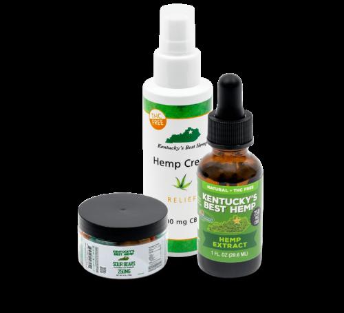 THC-Free CBD bundle - Image of CBD gummies, hemp cream, and CBD gummies
